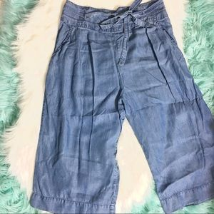 Pants - Soft Denim Wide Band Cullote
